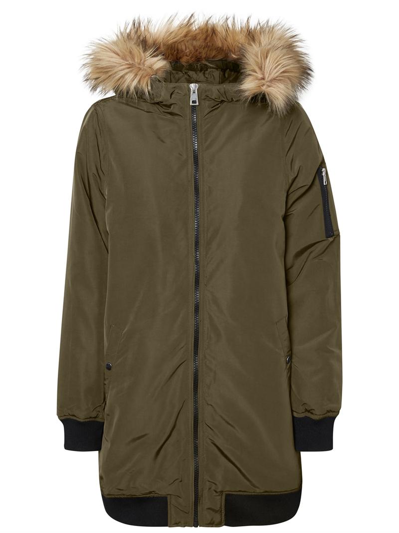 Vero Moda Dicte Fake Fur 3/4 Jacket Dark Olive Storlek S