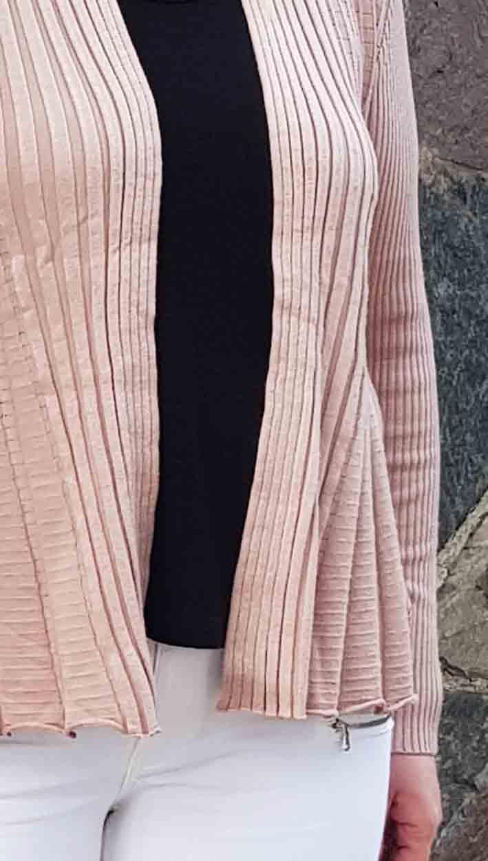 Claudisse Kort Cardigan Beige Rosa Dam